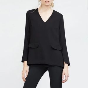 Zara L Woman V-Neck Side Slit Shift Straight Top